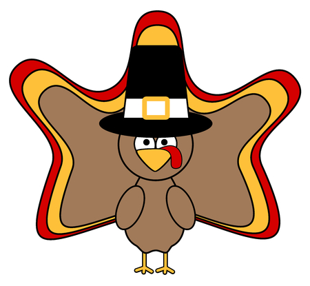 pilgrim hat: cute cartoon turkey wearing a pilgrim hat vector illustration isolated on white background