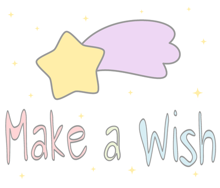 desire: colorful vector cute make a wish hand drawn shares with cartoon comet card illustration