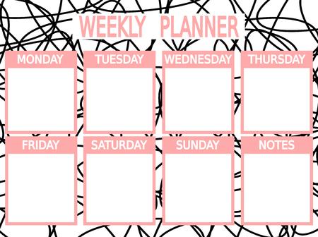cute black pink vector printable weekly planner Stock Illustratie