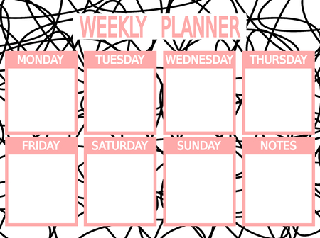 cute black pink vector printable weekly planner Vectores