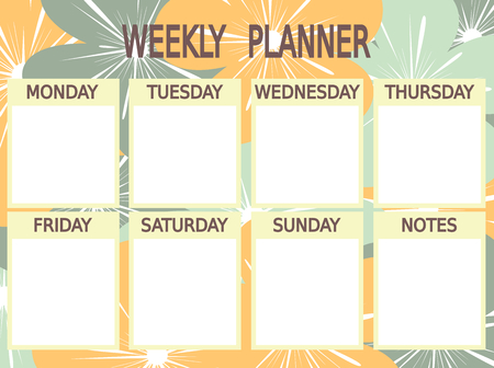 cute blue yellow vector printable weekly planner with flowers