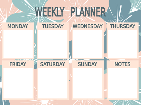 cute blue printable weekly planner vector pink with flowers
