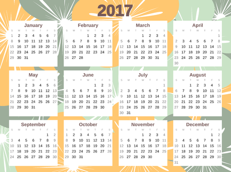 organizer: colorful cute 2017 calendar vector with flowers Illustration