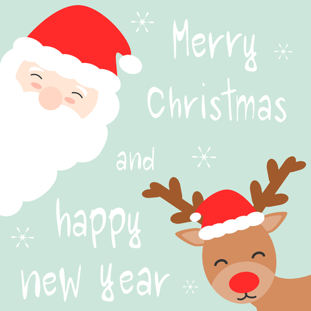 cute cartoon hand drawn merry christmas and happy new year vector card with santa claus and reindeer