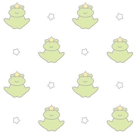 rana principe: historieta linda preciosa príncipe de la rana del vector patrón de fondo sin fisuras ilustración