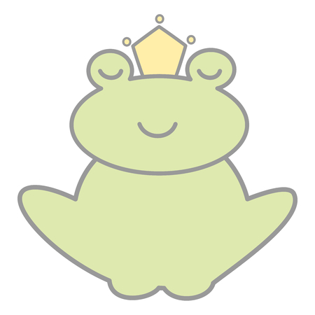 cute cartoon lovely frog prince vector illustration isolated on white background