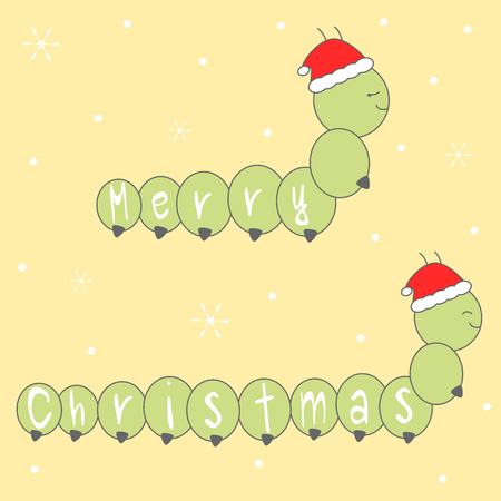 caterpillars: cute cartoon hand drawn lettering merry christmas greeting card with caterpillars with santa claus hat vector illustration