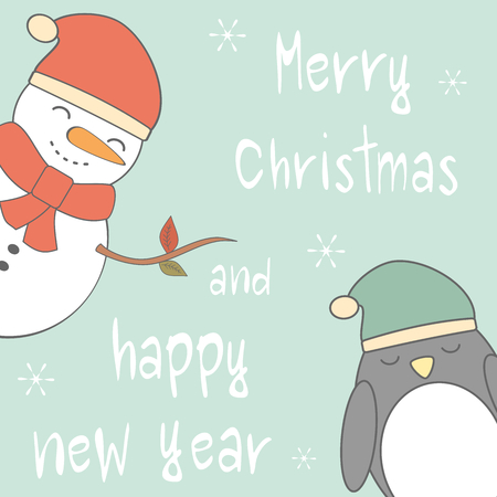 red nosed: cute cartoon hand drawn merry christmas and happy new year vector card with snowman and penguin
