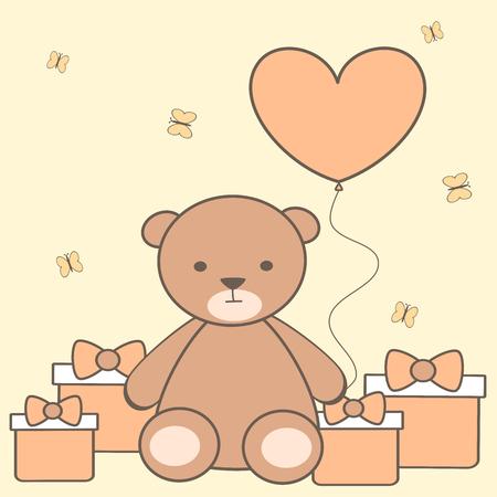 cute cartoon teddy bear with heart balloon and gift box vector illustration