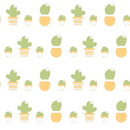 natures: succulent plants cartoon girl in lovely white and orange pots vector pattern background seamless illustration Illustration