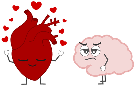 heart in love versus brain cartoon concept vector illustration