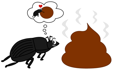 dung beetle and the big poop funny vector cartoon illustration