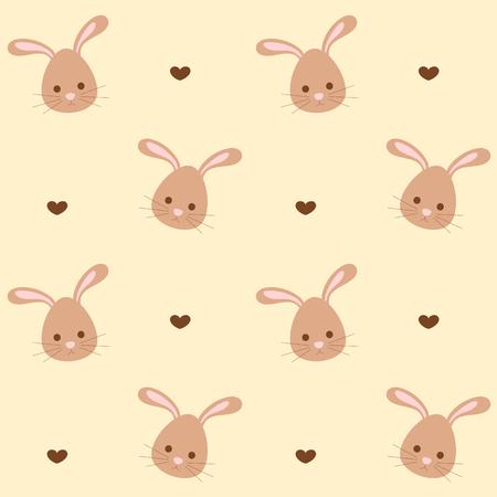 small articles: cute cartoon rabbit seamless vector background pattern illustration Illustration