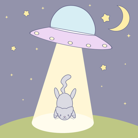 abducted: cat abducted by ufo vector cute cartoon illustration