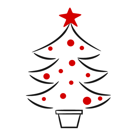 natures: cute hand drawn black white red christmas tree linear vector illustration