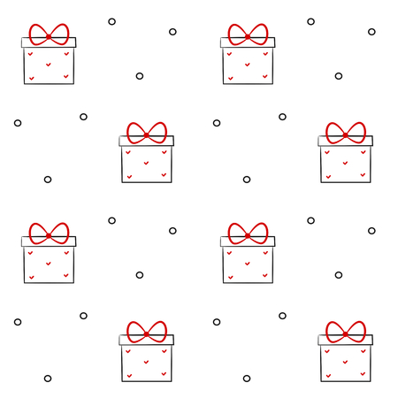 black white red: cute lovely hand drawn black white red gift box linear vector illustration seamless background pattern