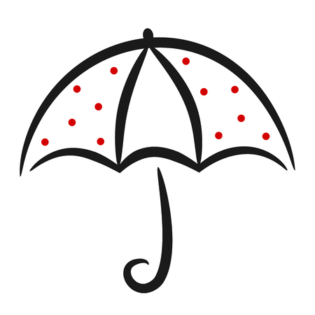 black white red: cute black white red linear vector umbrella with red dots Illustration