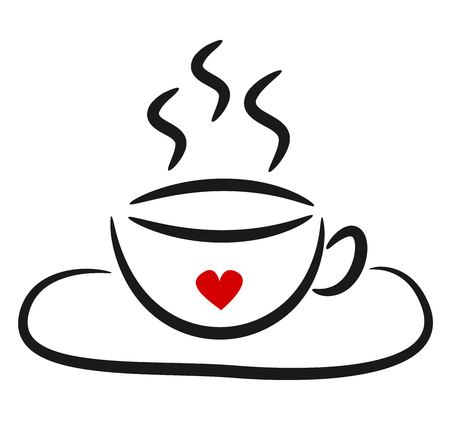cute black white linear coffee cup with red heart logo vector illustration