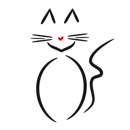 linear cute cat logo vector black white red