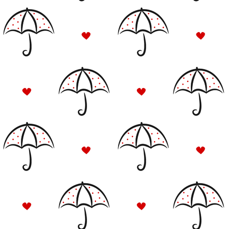 black white red: cute black white red linear vector umbrella with red dots seamless background pattern illustration