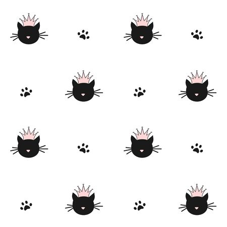 cute black cats silhouette with pink crown seamless pattern vector background illustration