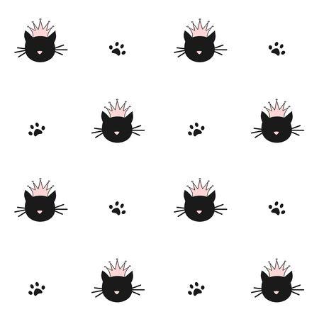schattig zwart katten silhouet met roze kroon naadloze patroon vector achtergrond illustratie