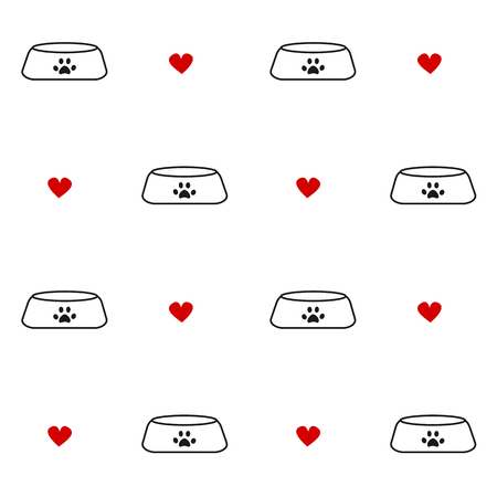 black white red: cute black white red seamless vector background pattern illustration with pet bowls and hearts