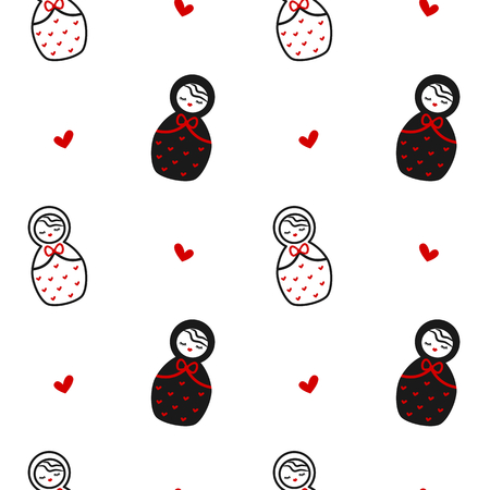 cute black white red Matryoshka, russian vector pattern background traditional wooden doll seamless illustration