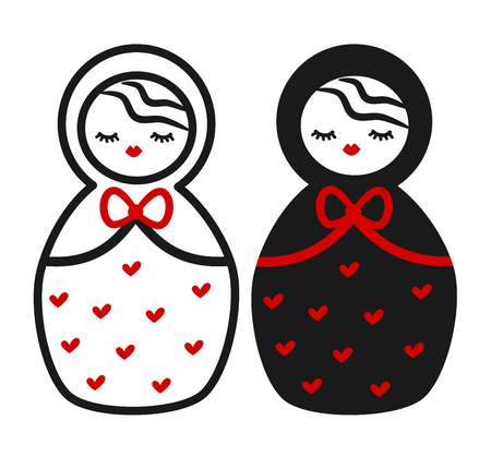 cute black white red Matryoshka, russian traditional wooden doll vector illustration