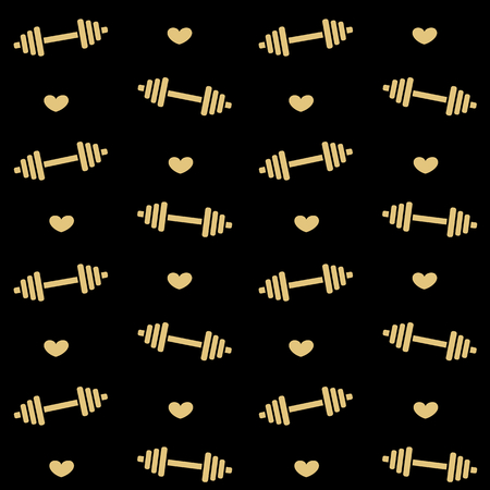 heavy heart: cute dumbbell gold vector seamless background pattern illustration with hearts