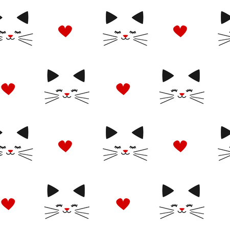black white red: cute lovely black white red seamless pattern vector illustration background with cats and hearts Illustration