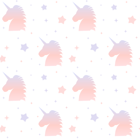 cute unicorn gradient silhouette seamless background pattern illustration