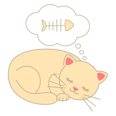 Cute Cartoon Katze schlafen träumen Fisch Knochen Vektor-Illustration isoliert auf weißem Hintergrund