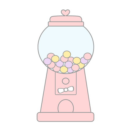 cartoon cute pink gumball machine vector illustration isolated on white background