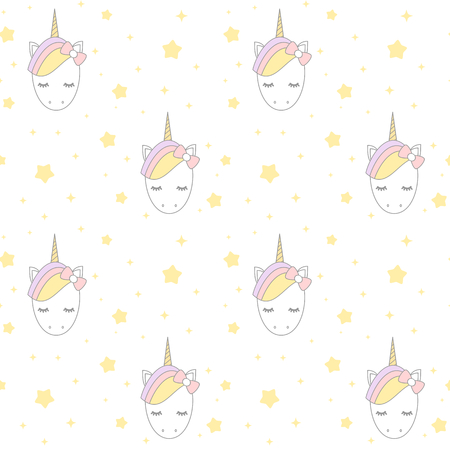 cute cartoon unicorn with stars vector background pattern seamless illustration