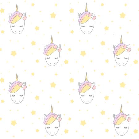 schattig cartoon Eenhoorn met sterren vector achtergrond patroon naadloze afbeelding Stock Illustratie