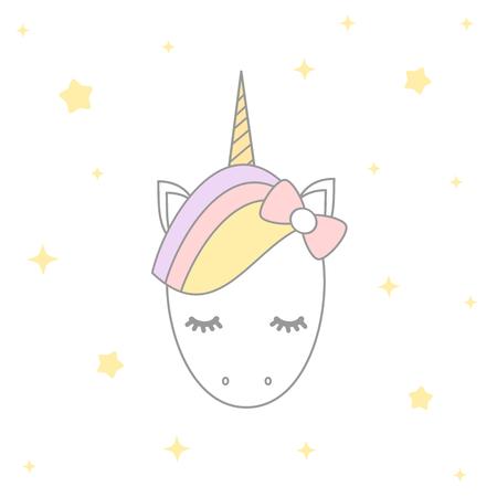 vector cute cartoon unicorn with stars illustration design