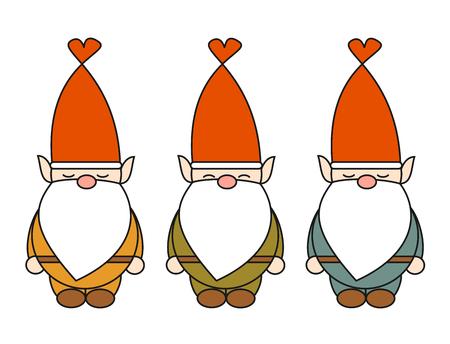 cute gnome cartoon vector character set