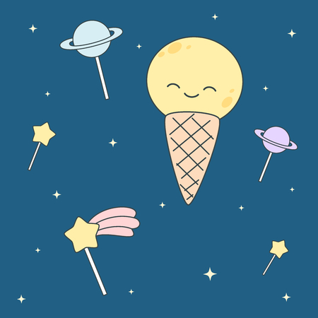 Cute cartoon ice cream lollipop moon and stars and planets vector illustration