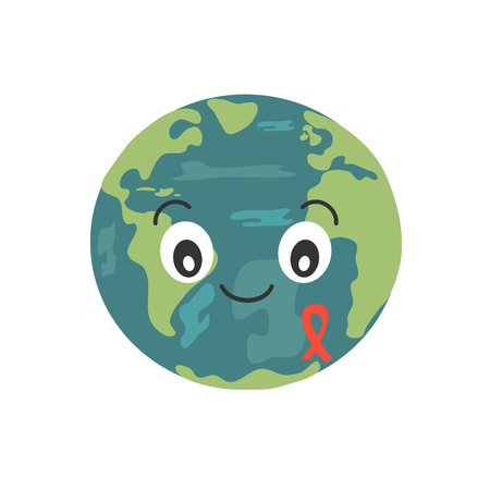 cute cartoon earth planet with AIDS red ribbon vector illustration