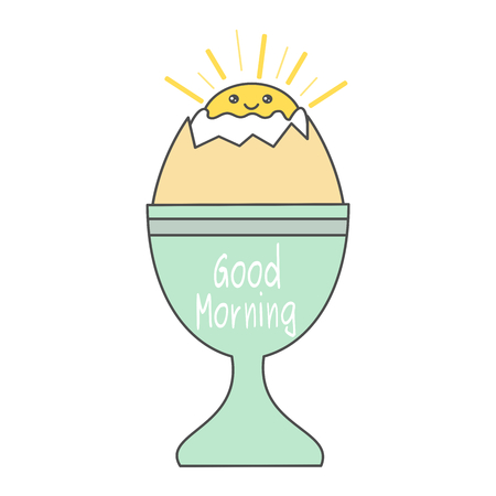 Cute cartoon egg cup vector illustration isolated on white background