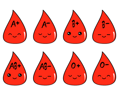 cute cartoon blood type set vector illustration