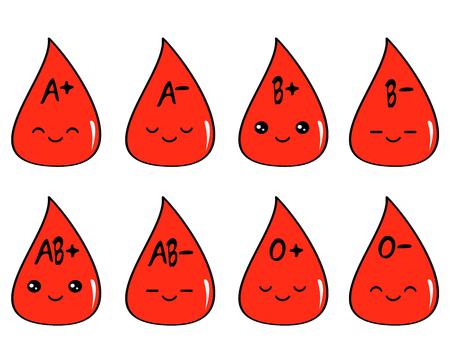 Niedlichen Cartoon-Blut-Typ-Set Vektor-Illustration Standard-Bild - 74403304