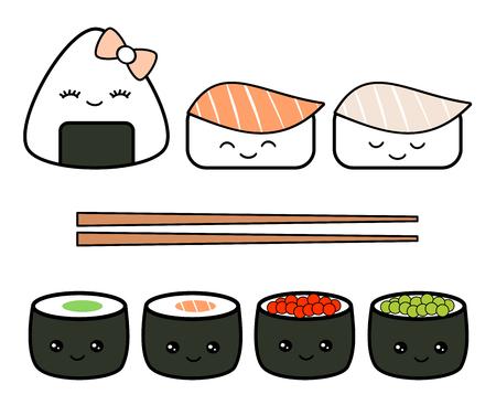 cute cartoon japanese food set vector illustration isolated on white background
