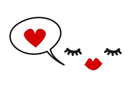 hand getrokken vector leuke kaart met wimpers, rode lippen en tekstballon met hart