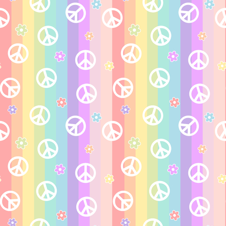 cute peace symbol with white daisy flowers on colorful rainbow stripes vector pattern background seamless illustration Illustration