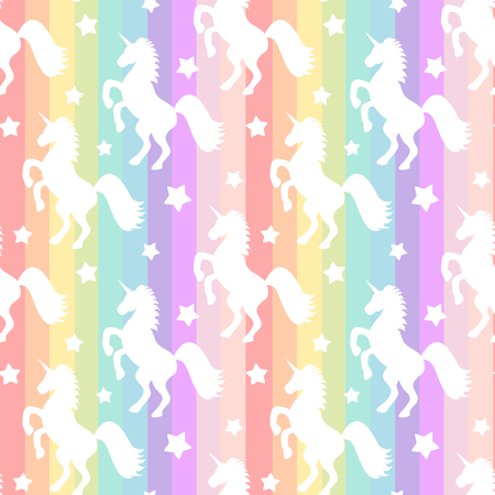 animal silhouette: cute white unicorns silhouette on rainbow colorful stripes seamless vector pattern background illustration