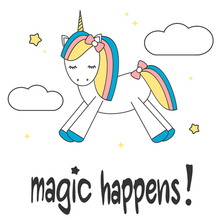 animal silhouette: hand drawn lettering slogan magic happens colorful motivational card with cute cartoon unicorn in the sky