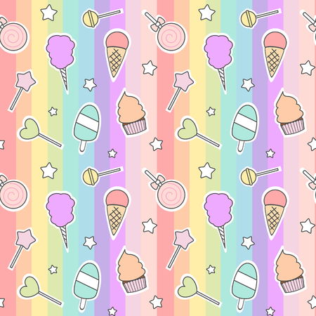 vector seamless cute cartoon pattern with candies, ice cream, cotton candy and lollipop on colorful stripes 向量圖像