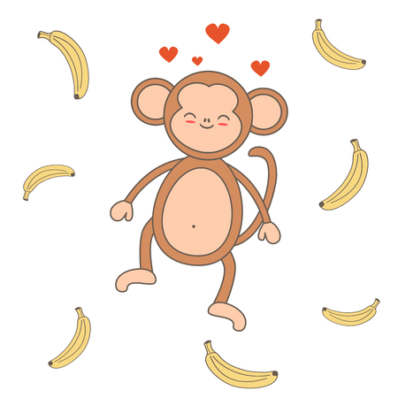 Cute cartoon monkey with banana vector illustration Illustration